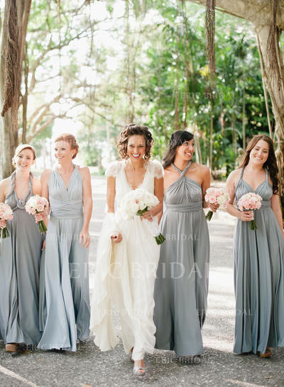 A-Line/Princess Chiffon Bridesmaid Dresses Ruffle V-neck Sleeveless Floor-Length (007212240)
