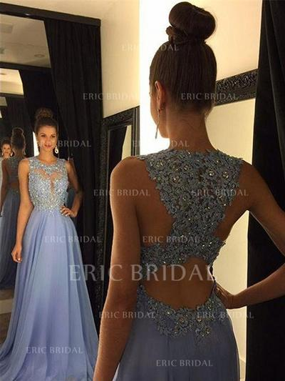 A-Line/Princess Scoop Neck Sweep Train Prom Dresses With Beading Sequins (018148487)