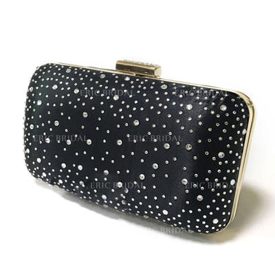 Clutches/Wristlets Wedding/Ceremony & Party/Casual & Shopping Satin/Crystal/ Rhinestone Clip Closure Charming Clutches & Evening Bags (012186686)
