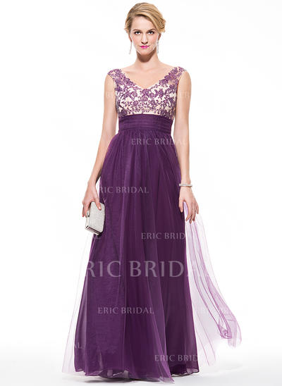 Empire V-neck Floor-Length Prom Dresses With Ruffle Beading Appliques Lace Sequins (018075893)