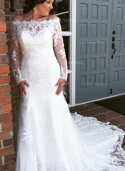 Trumpet/Mermaid Tulle Lace Long Sleeves Off-The-Shoulder Cathedral Train Wedding Dresses (002144917)