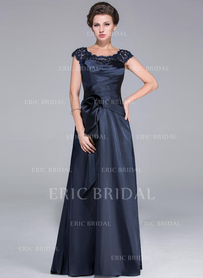 A-Line/Princess Charmeuse Sleeveless Scoop Neck Sweep Train Zipper Up Mother of the Bride Dresses (008210486)