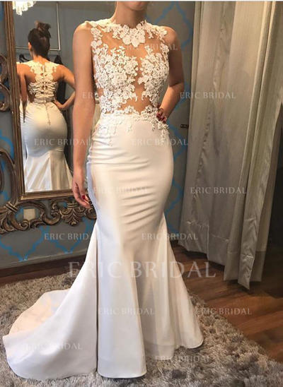 Trumpet/Mermaid Satin Sleeveless Scoop Court Train Wedding Dresses (002146927)