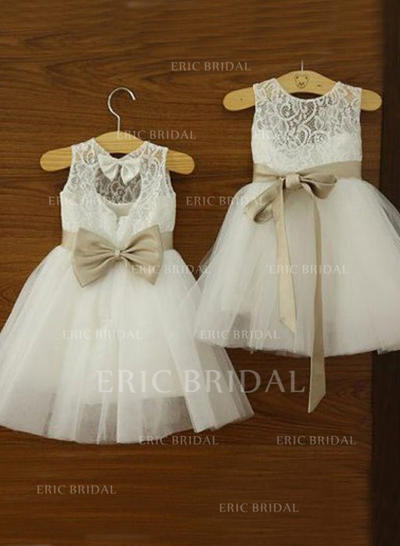 Newest Scoop Neck A-Line/Princess Flower Girl Dresses Knee-length Tulle/Lace Sleeveless (010146785)
