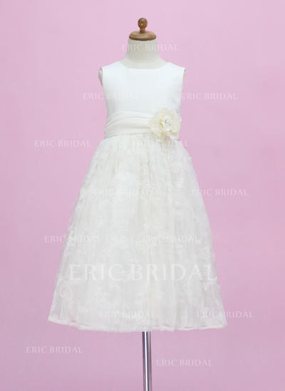 Stunning Scoop Neck A-Line/Princess Flower Girl Dresses Ankle-length Satin/Lace Sleeveless (010005340)