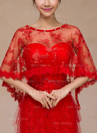 Wrap Wedding Lace With Rhinestones Ivory Red Wraps (013149732)