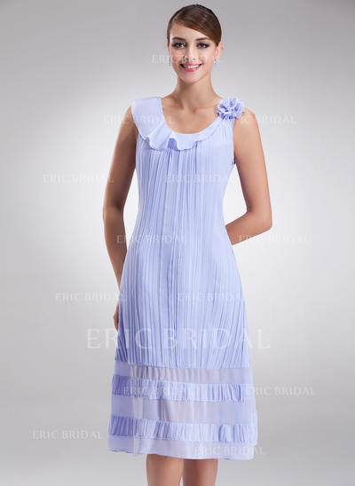 A-Line/Princess Chiffon Sleeveless Scoop Neck Knee-Length Zipper Up at Side Mother of the Bride Dresses (008211073)