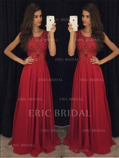 A-Line/Princess Chiffon Prom Dresses Beading Scoop Neck Sleeveless Sweep Train (018210209)