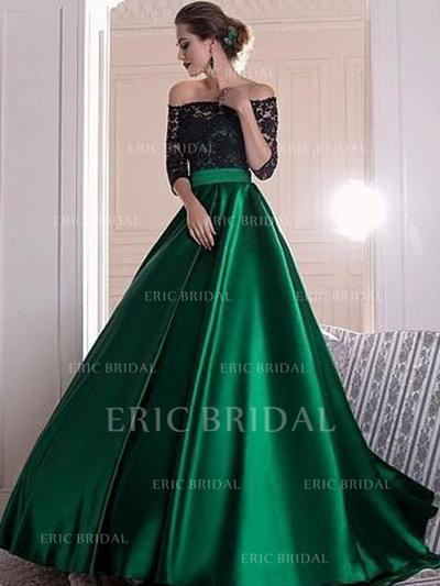 Ball-Gown Off-the-Shoulder Sweep Train Evening Dresses (017213435)