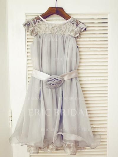 A-Line/Princess Scoop Neck Tea-length With Ruffles/Sash/Flower(s) Chiffon/Tulle/Lace Flower Girl Dresses (010211829)
