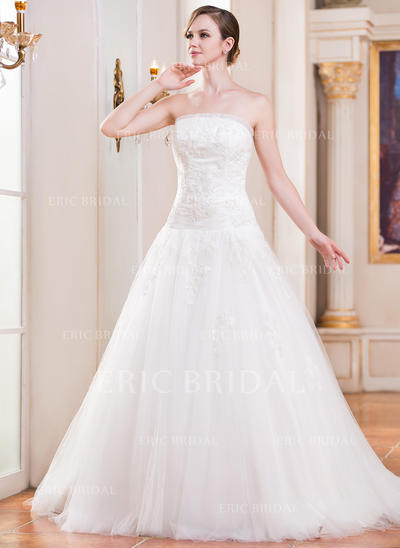 Beautiful Strapless Ball-Gown Wedding Dresses Cathedral Train Tulle Sleeveless (002210570)