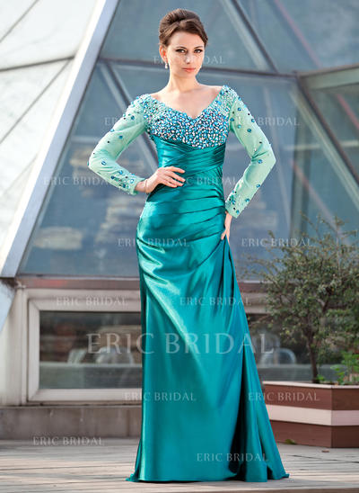Sheath/Column Charmeuse Long Sleeves Off-the-Shoulder Sweep Train Zipper Up Mother of the Bride Dresses (008211446)