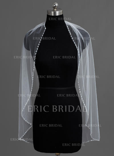 Fingertip Bridal Veils Tulle One-tier Classic With Beaded Edge Wedding Veils (006151741)