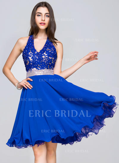 A-Line/Princess V-neck Knee-Length Chiffon Lace Homecoming Dresses With Beading Sequins (022214044)
