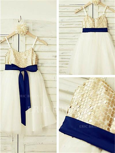 A-Line/Princess Straps Tea-length With Sash Tulle/Sequined Flower Girl Dresses (010212000)