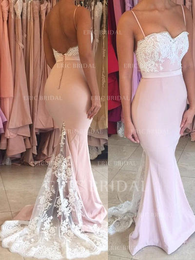 Trumpet/Mermaid Sweetheart Sweep Train Prom Dresses With Lace (018145954)