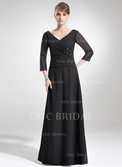 A-Line/Princess Chiffon 1/2 Sleeves V-neck Floor-Length Zipper Up Mother of the Bride Dresses (008006180)