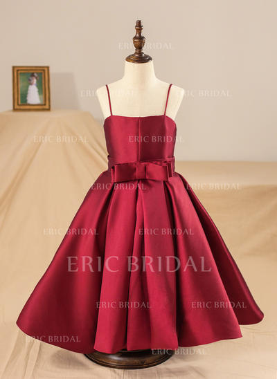 Ball Gown Straps Tea-length With Bow(s) Satin Flower Girl Dresses (010211649)