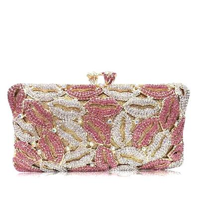 Clutches/Luxury Clutches Wedding/Ceremony & Party/Casual & Shopping Crystal/ Rhinestone/Silver Plated Magnetic Closure Charming Clutches & Evening Bags (012185975)