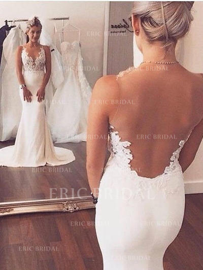 Trumpet/Mermaid Scoop Court Train Wedding Dresses With Appliques Lace (002144874)