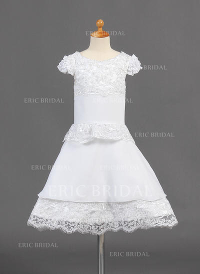 Newest Scoop Neck A-Line/Princess Flower Girl Dresses Knee-length Chiffon Short Sleeves (010015774)