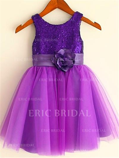 A-Line/Princess Scoop Neck Tea-length With Flower(s) Tulle/Sequined Flower Girl Dresses (010211943)