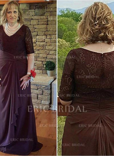 A-Line/Princess Chiffon 1/2 Sleeves V-neck Sweep Train Zipper Up Mother of the Bride Dresses (008212721)
