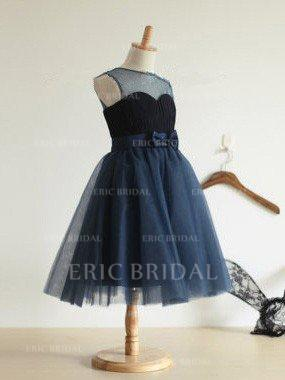 Ball Gown Scoop Neck Tea-length With Bow(s) Tulle Flower Girl Dresses (010211762)