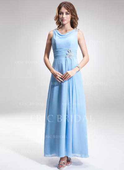 A-Line/Princess Chiffon Sleeveless Cowl Neck Ankle-Length Zipper Up Mother of the Bride Dresses (008211035)