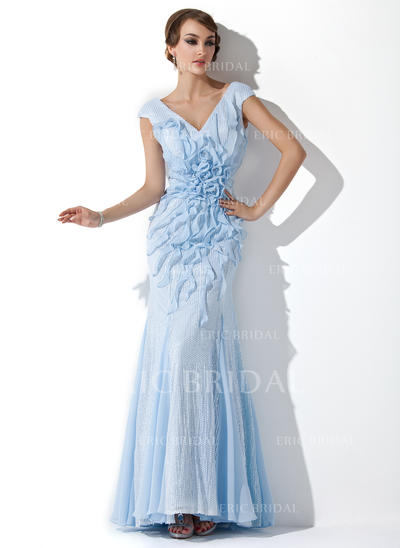 Trumpet/Mermaid V-neck Floor-Length Evening Dresses With Beading Flower(s) Cascading Ruffles (017201513)