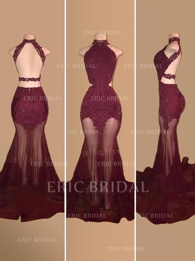 Trumpet/Mermaid High Neck Court Train Prom Dresses With Appliques Lace (018218093)