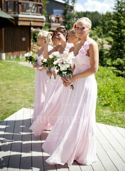 A-Line/Princess Chiffon Bridesmaid Dresses Ruffle Flower(s) One-Shoulder Sleeveless Floor-Length (007145017)