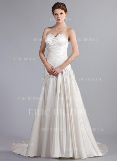A-Line/Princess Sweetheart Cathedral Train Wedding Dresses With Ruffle Beading Appliques Lace (002210499)