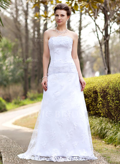 A-Line/Princess Strapless Sweep Train Wedding Dresses With Ruffle (002000127)