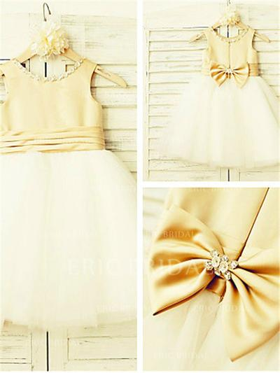 A-Line/Princess Scoop Neck Knee-length With Beading/Bow(s) Satin/Tulle Flower Girl Dresses (010211871)