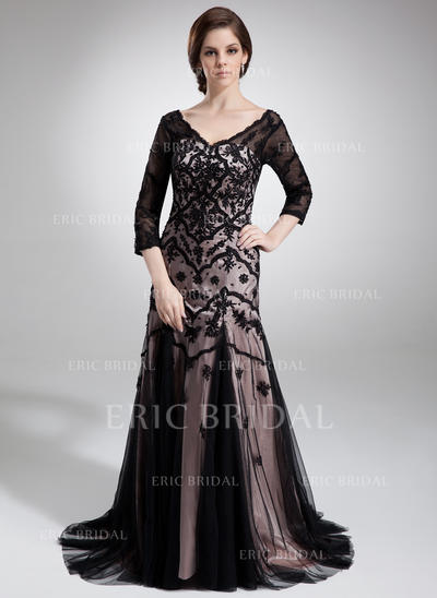 Trumpet/Mermaid Charmeuse Tulle 3/4 Sleeves V-neck Court Train Zipper Up Mother of the Bride Dresses (008211234)