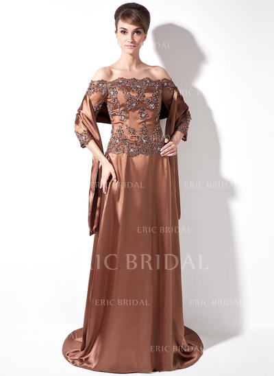 A-Line/Princess Charmeuse 3/4 Sleeves Off-the-Shoulder Sweep Train Zipper Up Mother of the Bride Dresses (008006171)
