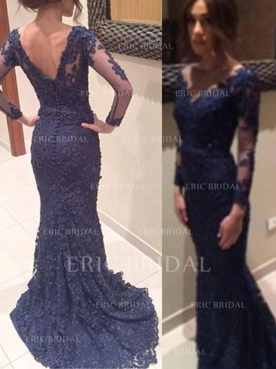 Trumpet/Mermaid Sweep Train Prom Dresses V-neck Lace Long Sleeves (018145876)
