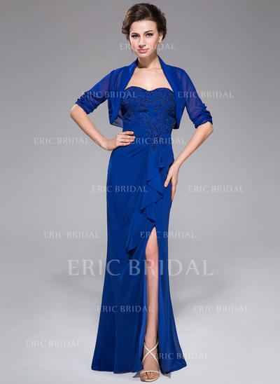 Trumpet/Mermaid Sweetheart Floor-Length Mother of the Bride Dresses With Appliques Lace Split Front Cascading Ruffles (008211108)