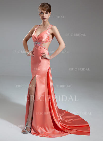 Trumpet/Mermaid V-neck Watteau Train Evening Dresses With Ruffle Beading Split Front (017004461)