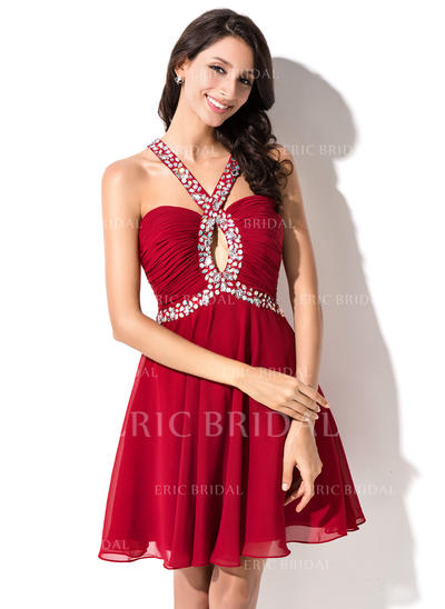 A-Line/Princess Sweetheart Short/Mini Homecoming Dresses With Ruffle Beading Sequins (022214024)
