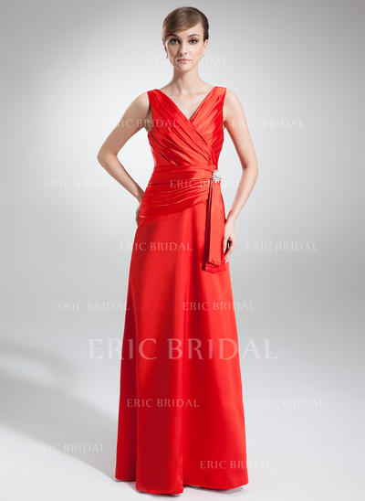 A-Line/Princess V-neck Floor-Length Evening Dresses With Ruffle Crystal Brooch (017002579)