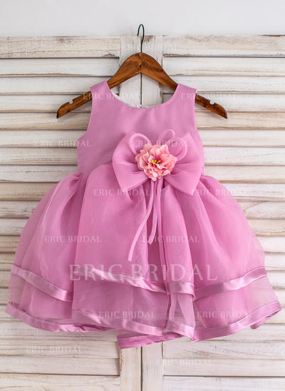 Ball Gown Scoop Neck Knee-length With Flower(s)/Bow(s) Organza Flower Girl Dresses (010211638)