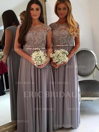 A-Line/Princess Chiffon Lace Bridesmaid Dresses Scoop Neck Sleeveless Floor-Length (007145037)