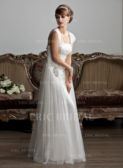 Glamorous Square A-Line/Princess Wedding Dresses Floor-Length Tulle Sleeveless (002210412)
