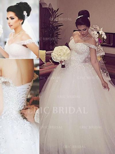 Ball-Gown Tulle Sleeveless Off-The-Shoulder Floor-Length Wedding Dresses (002144868)