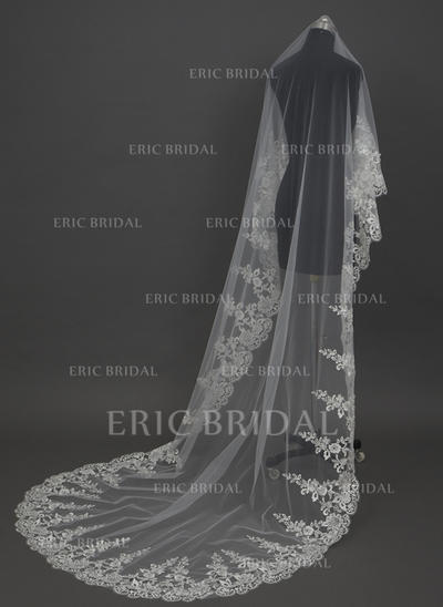 Cathedral Bridal Veils Tulle One-tier Classic/Drop Veil With Lace Applique Edge Wedding Veils (006151249)