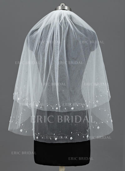 Elbow Bridal Veils Tulle Two-tier Classic With Cut Edge Wedding Veils (006151121)