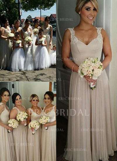 A-Line/Princess Sweetheart Floor-Length Bridesmaid Dresses With Appliques Lace (007211584)