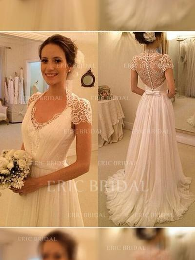 A-Line/Princess Chiffon Short Sleeves V-neck Sweep Train Wedding Dresses (002144819)